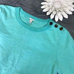 J. Crew sweatshirt crewneck teal button shoulder L